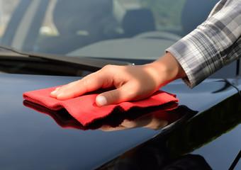 Car care - Polishing a black car