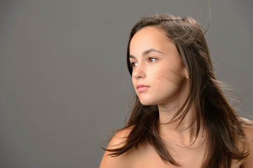 Teenage girl hair beauty skin looking away