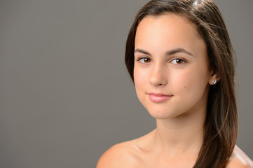 Beautiful teenage girl skin care cosmetics