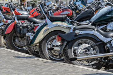 group of motorcycle parking