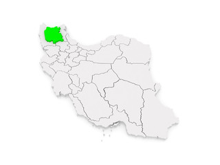 Map of East Azerbaijan. Iran.