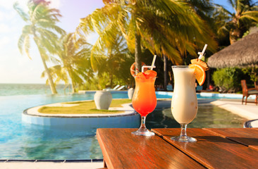 Two cocktails on tropical vacation