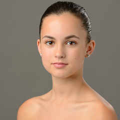 Teenage girl bare shoulders skin care beauty