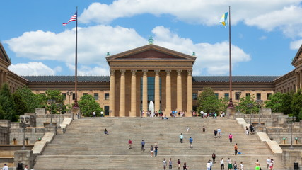 Timelapse of people moving in front  Philadelphia Art museum