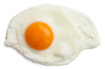 Single fried egg isolated on white from above. Clipping path.
