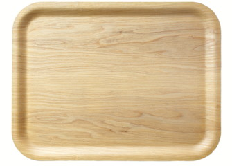 Brown wooden tray isolated on white background