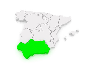 Map of Andalusia. Spain.