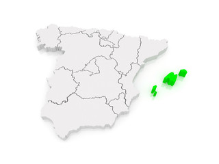 Map of Balearic Islands. Spain.