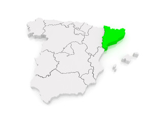 Map of Catalonia. Spain.