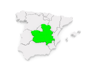 Map of Castilla - La Mancha. Spain.