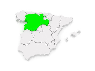 Map of Castile and Leon. Spain.