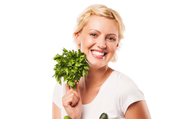 smiling woman with parsley. on white