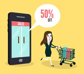Women shopping online by smartphone. e-commerce concept.