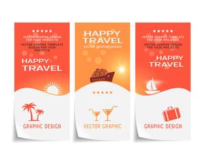 Travel banner, poster, sticker, flyer, ticket design