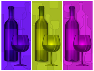 Bottles wine and glasses on color background, vector