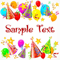 Party decorations background with text, vector illustration