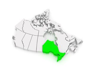 Map of Ontario. Canada.