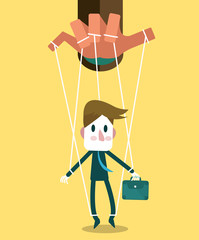 Businessman marionette on ropes controlled hand. vector