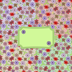 Abstract seamless background with multicolored flowers