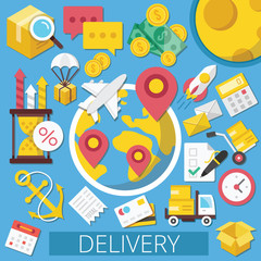 Vector Flat Design Icons Illustration for Delivery or Logistics