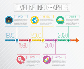 Vector Flat Timeline Infographics