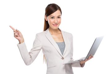 Asian Business Woman with laptop and fingerup