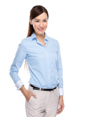 Young asian business woman on white background