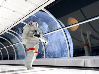 Astronaut in the corridor