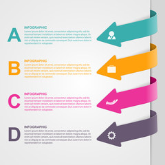 Colorful arrow options infographic.