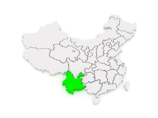 Map of Yunnan. China.