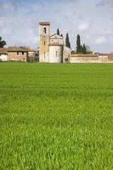 Romanesque medieval Church near a cemetery