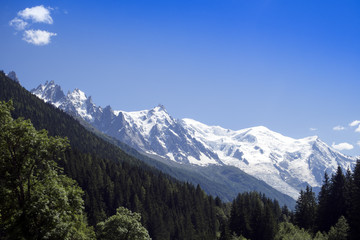 the Mont Blanc with the Glacier des Bosson, Chamonix, France.