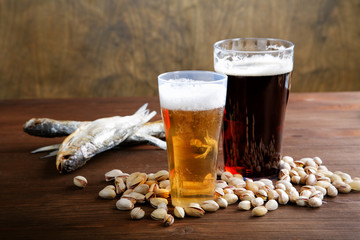 Beer with salty nutlets and dried fish