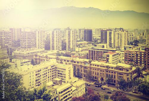 Vintage picture of Santiago de Chile downtown.