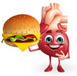 canvas print picture - Heart character with burger
