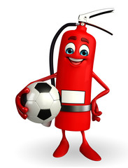 Fire Extinguisher character with football