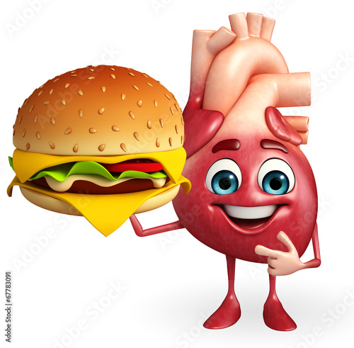 canvas print picture Heart character with burger
