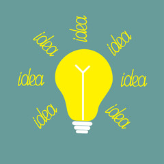 Yellow bulb with ray of light. Idea concept.