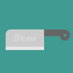 Big steel kitchen meat knife. Menu cover. Flat design style.