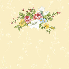 Vintage greeting card with flowers