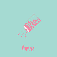 Salt shaker with hearts  Happy Valentines day Blue and pink