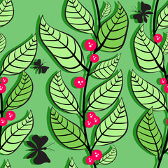 Seamless pattern with leaves and berries 2