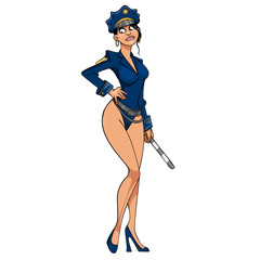 cartoon sexy woman in police uniform