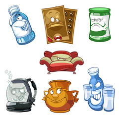 cartoon items,water bottle,chocolates,jar,sofa,tea pot,set