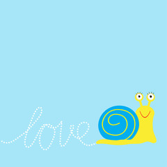 Snail insect. Dash word Love. Card Flat design.