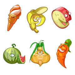 cartoon ice cream,banana,cheese,watermelon,onions,carrots,set