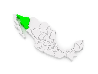 Map of Sonora. Mexico.