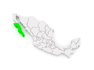 Map of Baja California. Mexico.