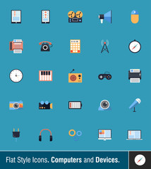 Flat Style Icons 1. Computers and Devices.