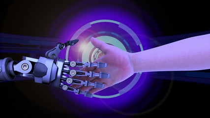 Shake hands with a robot, high-tech